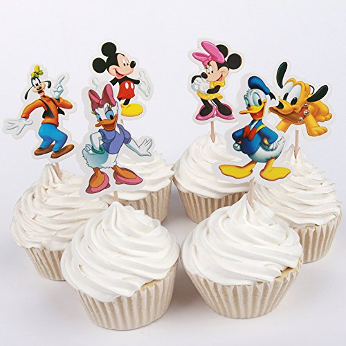 AIMING WEST Mickey Minnie Mouse Donald Duck Cupcake Toppers Set of 24 for Cute Birthday Party Baby Shower Unisexual Boys and Girls -