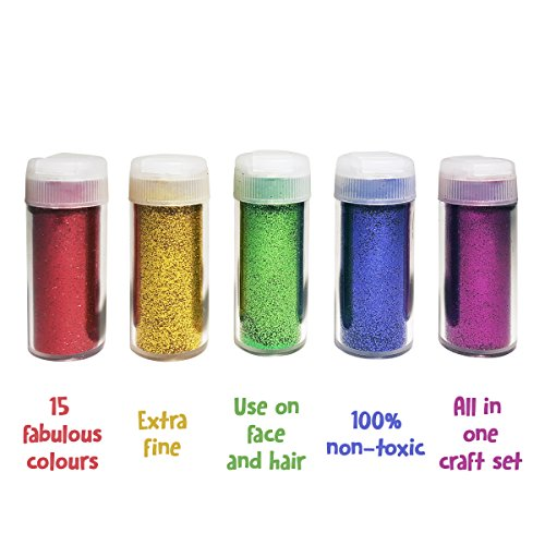 Original Stationery Arts and Crafts Glitter Shake Jars Extra Fine Powder 24 Multi Color Assorted Set Works for Slime School and Childrens Projects 15 pcs Pack