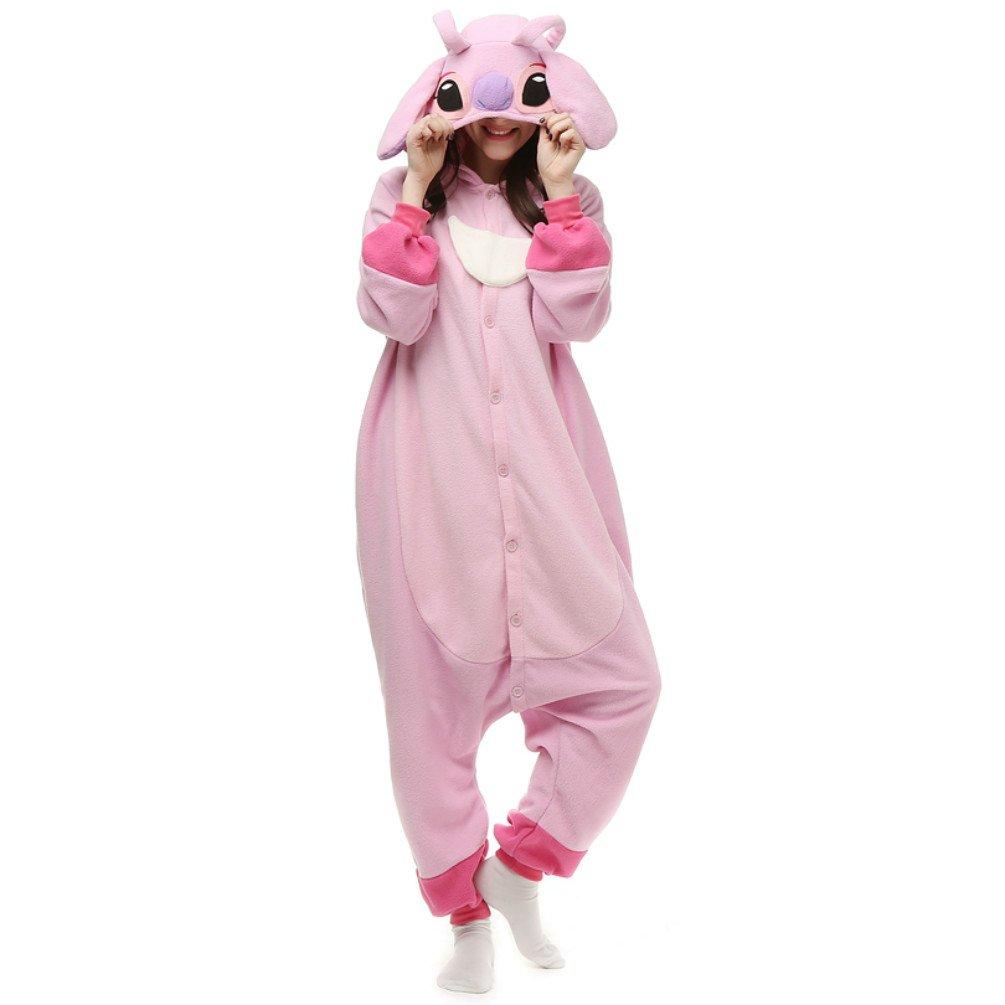 ZEALOVE Blue Stitch Onesie Kigurumi Pajama Costume for Adult and Teenagers Christmas Gift (M, Pink)