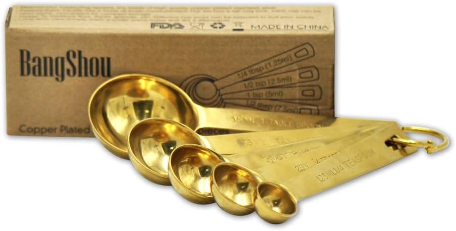 BangShou Golden cucchiai dosatori di quality superiore e tazze di misurazione con incisione misure Silver Spoon Set of 5 staccabile porta anelli lucidato a specchio