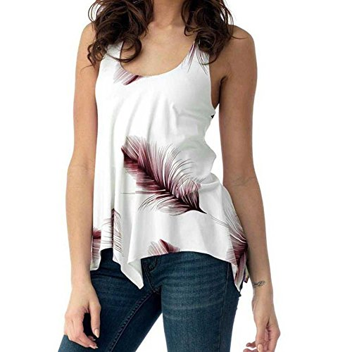 Women Tops Plus Size,Summer Print Sleeveless Blouse Irregular Bandage Tank Vest Open Back Shirt for Workout Yoga Gym Wine Red