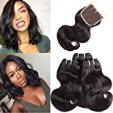 HUA Hair Brazilian Hair Body Wave 3 Bundles with Lace Closure 100% Brazilian Virgin Hair Bundles with Closure 3 Part 8A Unprocessed Human Hair 50g/Bundle Natural Color (8 8 8+8 closure)