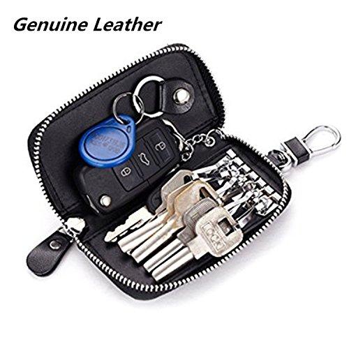 Men Leather Zip Around 6 Hook Key Case Car Key Holder (Six Hook Key Case)