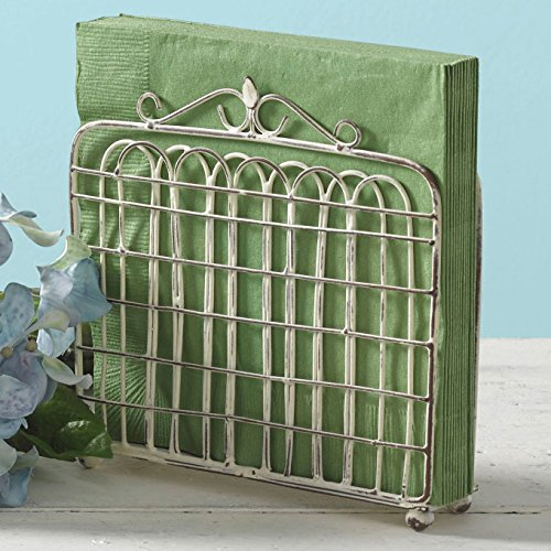 Shabby Chic Garden Gate Metal Lunch Napkin Holder (Cream) by Park Designs