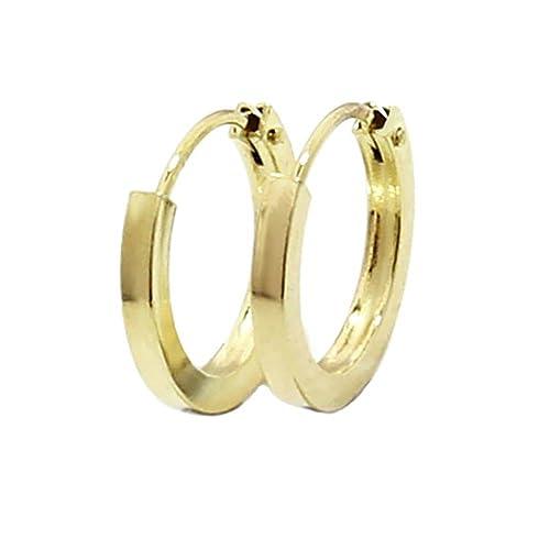 5510ec2c01e7 NKlaus 1843 - Par de pendientes de aro planos fabricados en oro amarillo  585