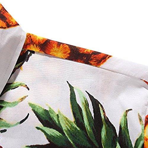 Bouton D'ananas De Ween Hommes Charme Chemise Floral Tropical Manches Courtes Décontracté Blanc Chemise Hawaïenne