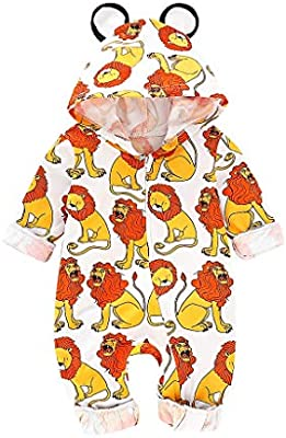 343861439 MOGOV Baby Girl's Cartoon Lion Print Hooded Romper Pajamas Long ...