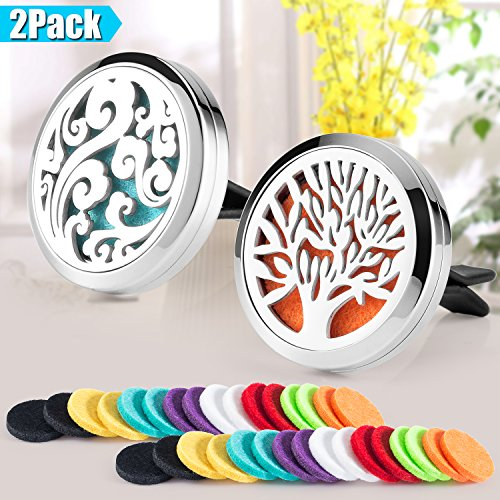 2 Pack Aromatherapy Car Diffuser Vent Clip 30mm Stainless Steel Car Diffuser Locket by AromaHouse(Tree of Life & Cloud)