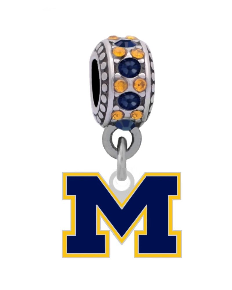 Final Touch Gifts University of Michigan Logo Charm Fits European Style Large Hole Bead Bracelets