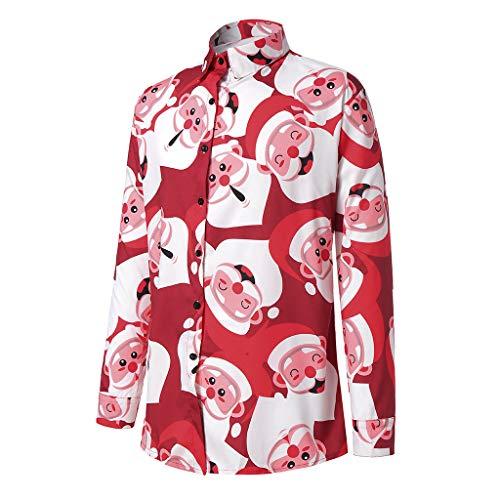 Shirt Christmas Men KYLEON Casual Snowflakes Santa Candy Printed Top Blouse
