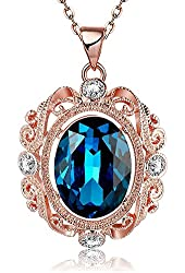 "18k Rose Gold Plated ""Heart of the Ocean"" Swarovski Elements Crystal Pendant Necklace for Women"