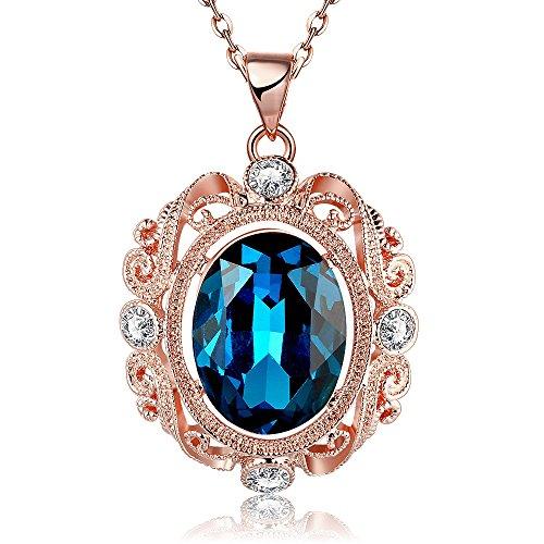 Sapphire September Birthstone Necklace with Swarovski Crystal Pendant Necklace 20'' By (Swarovski Dark Sapphire)