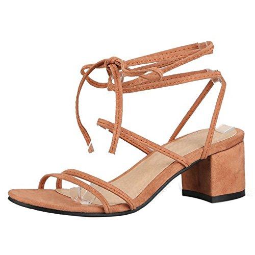 RAZAMAZA Mujer Moda Cordones Sandalias Tacon Ancho Cordones Colegio Zapatos Amarillo