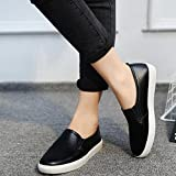 Hemlock Women Flat Shoes Leisure Boat Shoes Working Shoes Summer Beach Sandals Round Toe Shoes (US:8, Black)