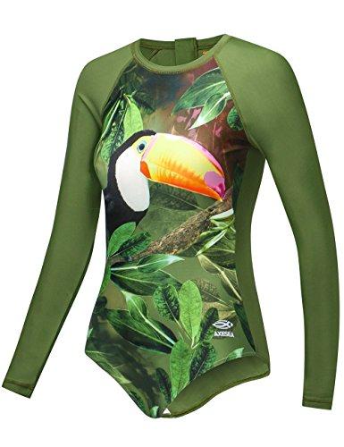 Axesea Long Sleeve Rash Guard Women UPF 50+ One Piece Rashguard Swimsuit Printed Back Zipper Size - Chart Sizes Swimsuit