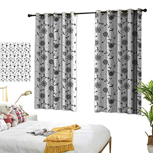 """Warm Family Turquoise Curtains House Decor,Flowers on Vines Pattern Small Cute Petals and Leaves with Tiny Butterflies Print,Black White 54""""x63"""",for Bedroom Curtain for Living Room"""