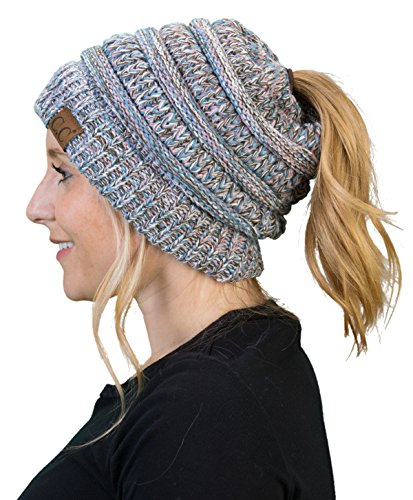 - BT-6800-816.65 Messy Bun Womens Winter Knit Hat Beanie Tail - Rose #18