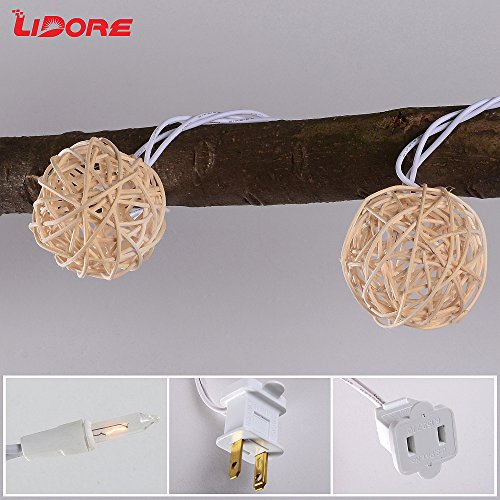 LIDORE 10 counts Natural Rattan Balls String Light. Warm White Light for Patio, Wedding, Garden and Party