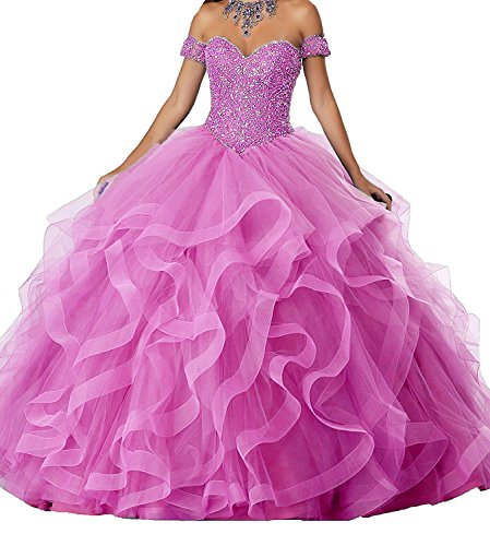 DKBridal Women's Off The Shoulder Crystals Ball Gowns Organza Long Quinceanera Dresses B-hot Pink 2