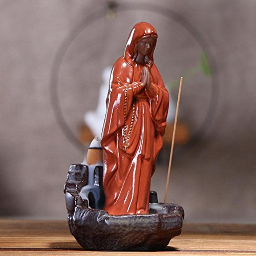 TUZECH Mother MARY Reverse Smoke Back-flow Cone Incense Holder Showpiece (10 Free Incense) (50)