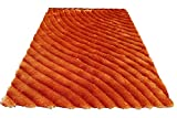 Orange Sunset 3D Shimmer Shag Area Rug 8'x10′ Two Toned Hand Woven Tufted 3 Dimensional Viscose Yarns Thick Pile Living Room-SAD 274 Orange For Sale