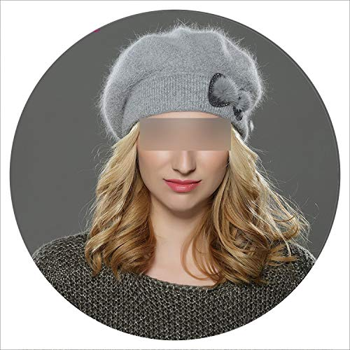 Women Beret Hat Knitted Wool Angora Beret Simple Stylish Mink Flower Decoration Cap Double Warm Hat