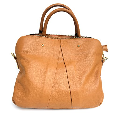Superflybags Borsa Donna in Vera Pelle morbida modello Vgir Made in Italy cognac