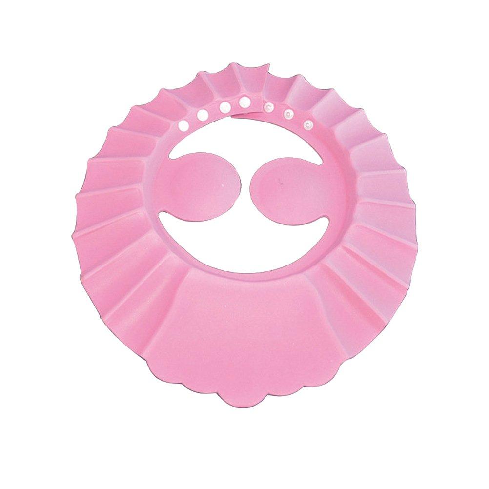 Ounona Children Shower Cap Hat Bathing protezione lavaggio capelli shampoo Shield per bambini neonati con protezione per le orecchie pastiglie (rosa)