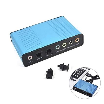 LYA Tarjeta de Sonido USB Profesional 6 Canales 5.1 ...