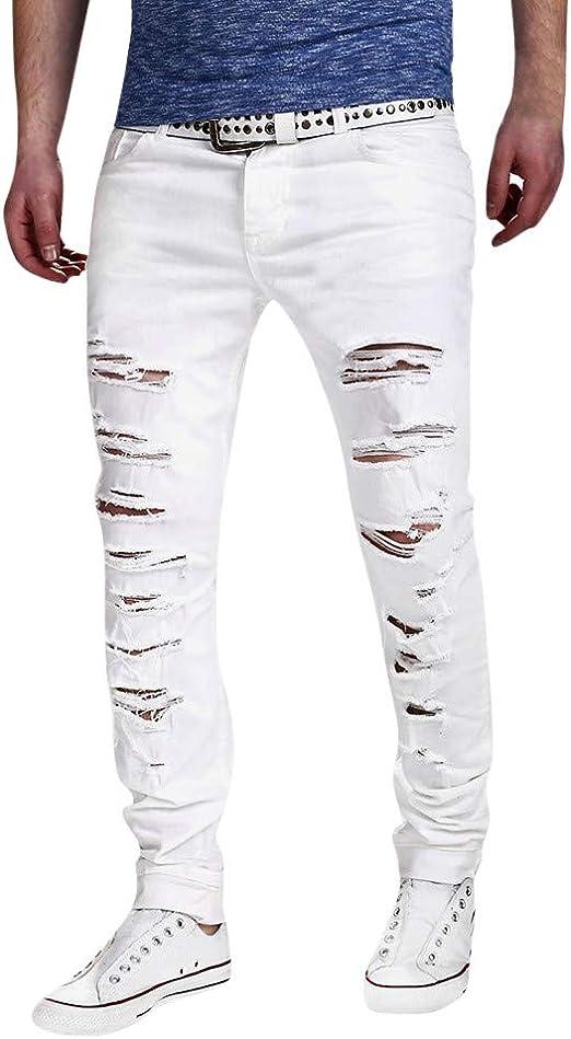 Vpass Pantalones Vaqueros Para Hombre Pantalones Casuales Moda Jeans Rotos Trend Largo Pantalones Pants Skinny Pantalon Fitness Jeans Largos Pantalones Ropa De Hombre Amazon Es Ropa Y Accesorios