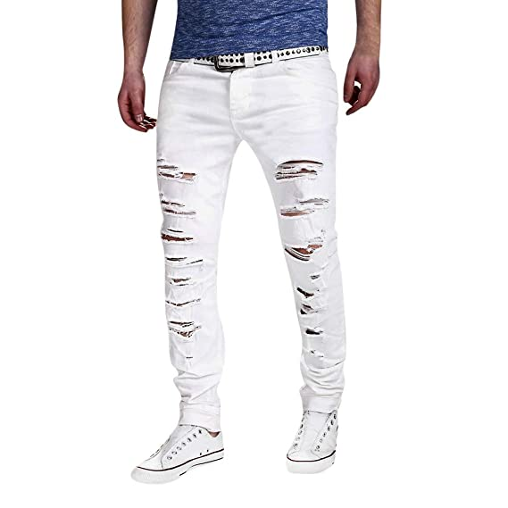 Pantalones de Deporte Hombre LANSKIRT Jeans Rotos Pantalon Jogger ...