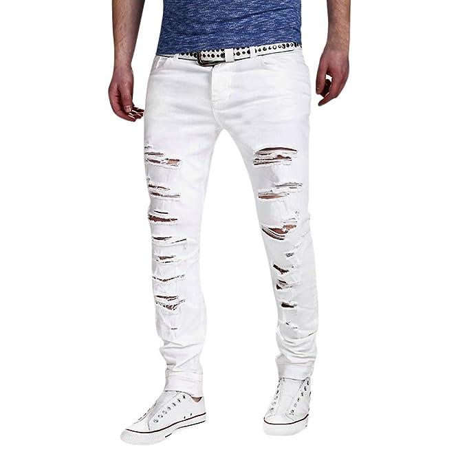 Gusspower Pantalones Rotos Largos Vaqueros Hombres Hippie Pantalones de Deportivos con Bolsillos Slim fit Skinny Jeans pantalón para Hombre Juventud: ...