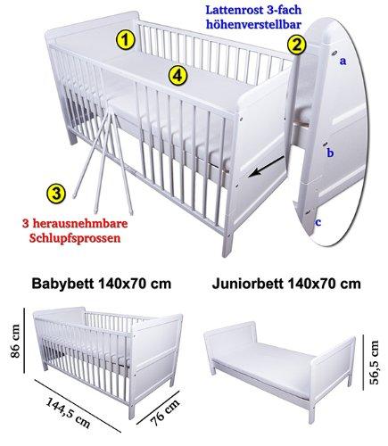 Babybett + Matratze Kinderbett Gitterbett Juniorbett Weiß umbaubar ...