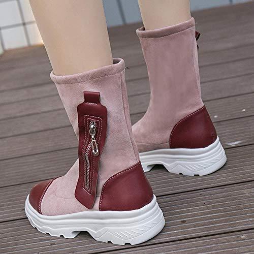 Neve stivali Spesso scarpe stivaletti Retrò 40 Stivali nero Vino35 Rotondi Moda Vino Dal sneakers Fondo Alla Donna Da 5CPw8