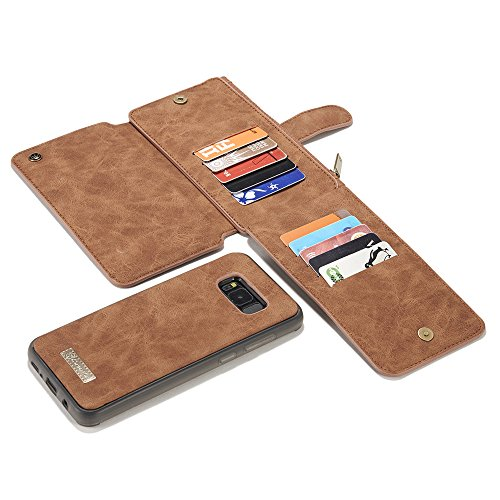 Galaxy S8 Wallet Case, Galaxy S8 Case,KingTo Flip Stand Smart Wallet Cover PU Leather Credit Card Slot Cash Holder Protective Case for Samsung Galaxy S8 5.8'', Light Brown by KingTo (Image #6)