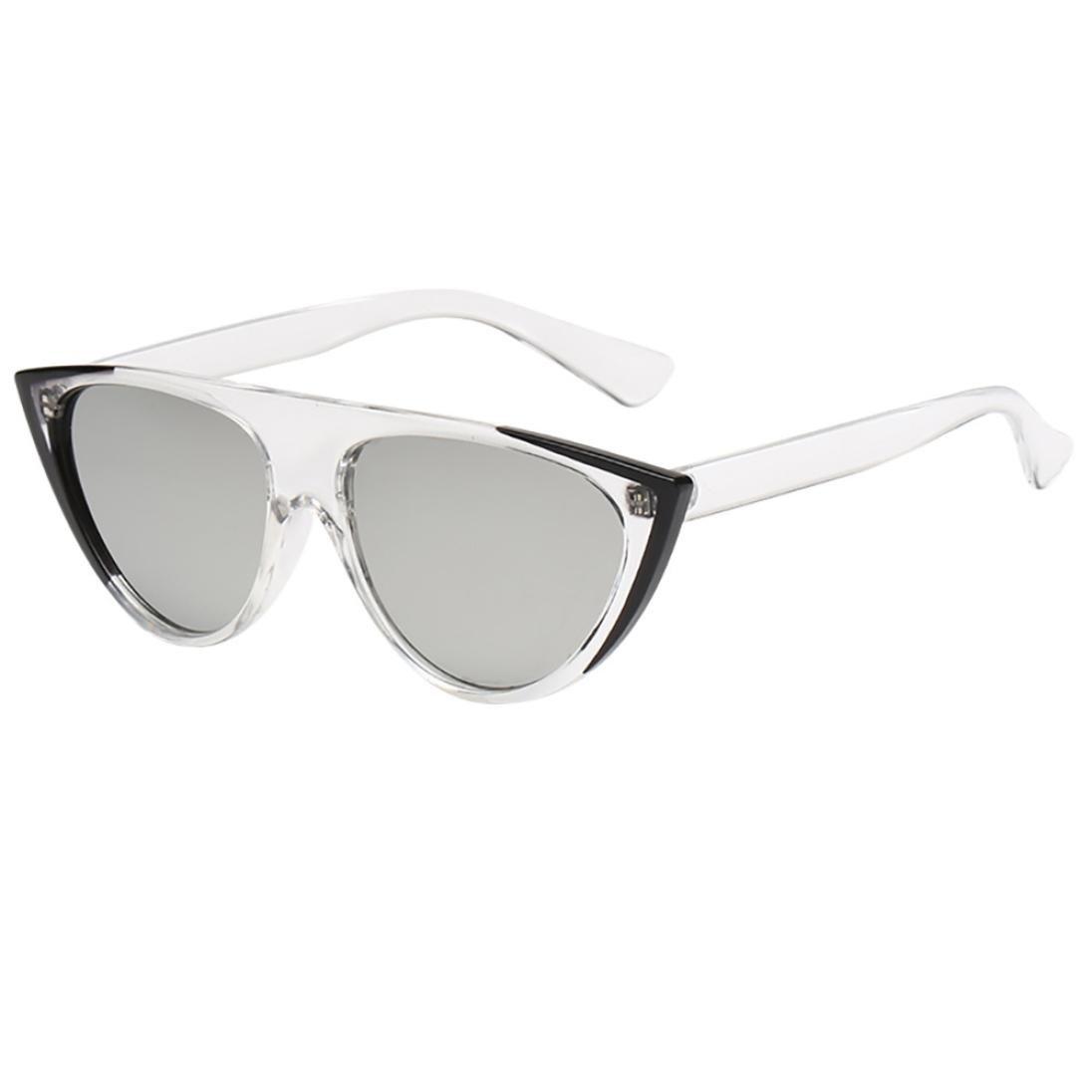 WILLTOO Unisex Sunglasses Vintage Cat Eye Glasses Fashion UV Protection Eyewear Rapper (H)