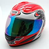 Motorcycle Street Bike Spider Red Full Face Adult Helmet