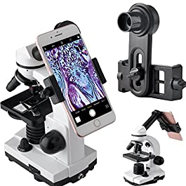 Gosky Microscope Lens Adapter, Microscope Smartphone Camera Adaptor – for Microscope Eyepiece Tube 23.2mm, Built-in WF…