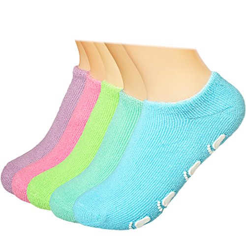 kilofly Kids Non-Skid Cotton Gripper Socks Value Pack [Set of 5 Pairs], 18-30 Months