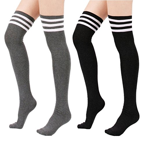 Zando Women's Cotton Athlete Triple Stripe Tights Over The Knee Thigh High Socks Casual Above Knee Socks 2Pairs-Black/Grey