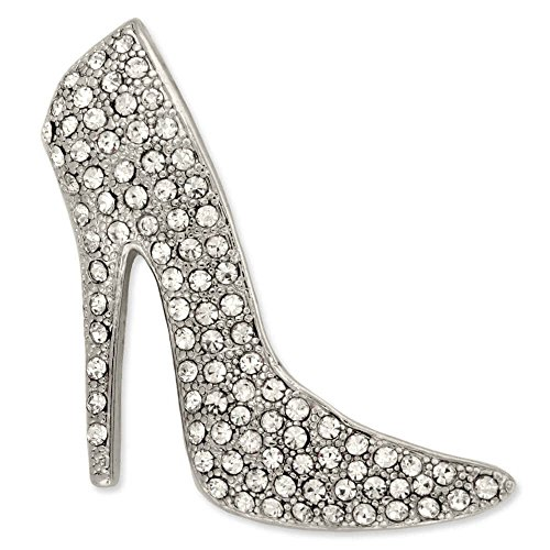 PinMart's Silver Plated Rhinestone Stiletto High Heel Trendy Brooch Pin by PinMart