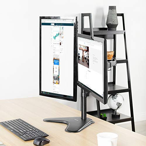 """Weight Capacity per Arm Black 22 lbs M002XL WALI Extra Tall Dual LCD Monitor Fully Adjustable Desk Mount Fits Two Screens up to 27/"""""""
