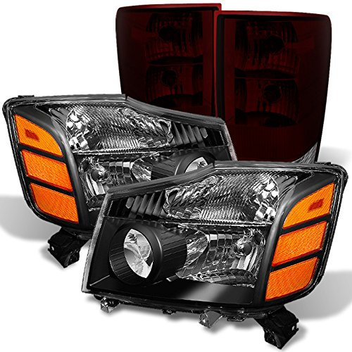 - For Nissan 04-15 Titan Pickup Truck Black Headlights + Red Smoked Tail Light Brake Lamp
