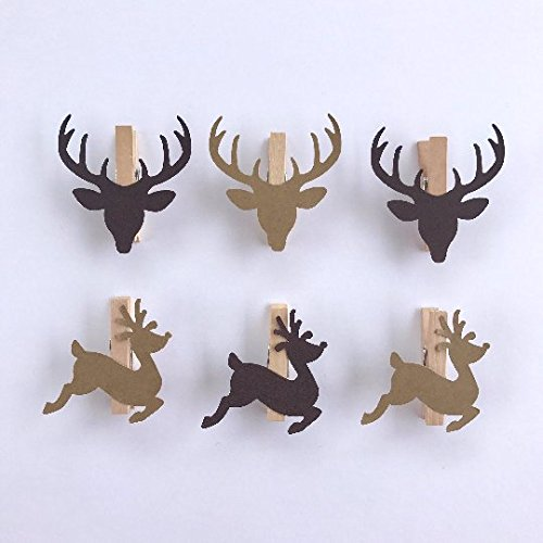 (Sweet Thymes Reindeer Clothespins Christmas Decoration Paper Cutouts Kit Gift Wrapping Clips Pins Holiday)
