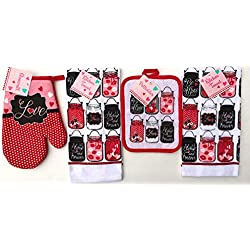 "Valentine ""Preserve Your Love"" Kitchen Dish Towels Pot Holder Oven Mitt Set, 4Pc.: Mason Jars, Hearts, Love, Lips, Kisses, OXO"
