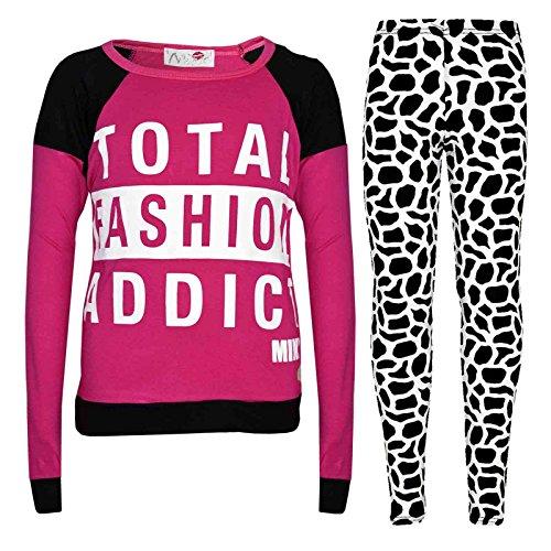 Kids Girls TOTAL FASHION ADDICT Printed Trendy Top & Fashion Legging Set 7-13 Yr