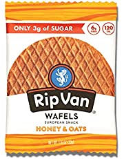 Rip Van Wafels Honey and Oats Stroopwafels - Healthy Snacks - Non GMO Snack - Keto Friendly - Office Snacks - Low Sugar (3g) - Low Calorie Snack - 12 Pack