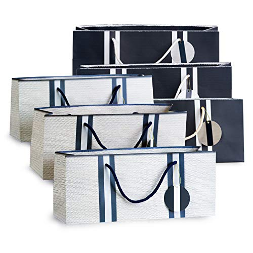 Wine Gift Bags - White with Basket Weave Pattern (3) and Navy Stripes (3) Purse Style by Simply Charmed