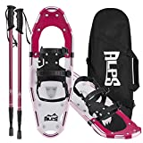 ALPS Adult All Terrian Snowshoes Set for Men,Women,Youth with Trekking Poles,Carrying Tote Bag 22''/25''/27''/30''/34'' (Red, 21'')