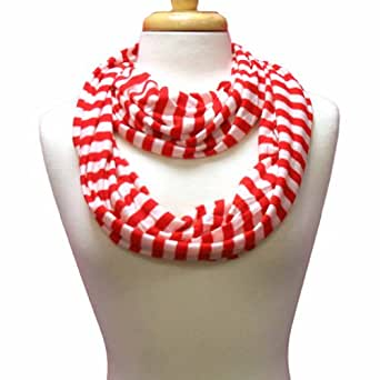 Luxury Divas Red & White Striped Lightweight Infinity Circle Ring Scarf